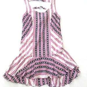 Free People S Ivory & Pink Print Mini Dress Ruffle